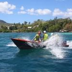 Remontée en bateau sur le spot de kitesurf